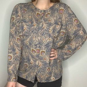 LOFT Peacock Feather Button Down Long Sleeve Top